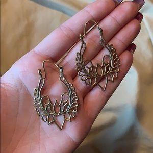 Gypsy Lotus flower brass earrings